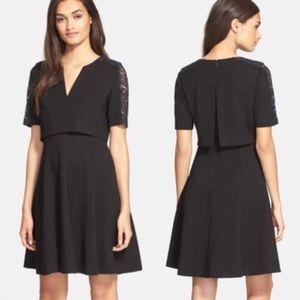{Rebecca Taylor} V-Neck Lace Ponte Dress Black